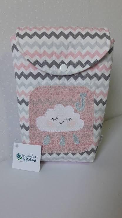 Porta-fraldas de nuvem com estampa chevrom