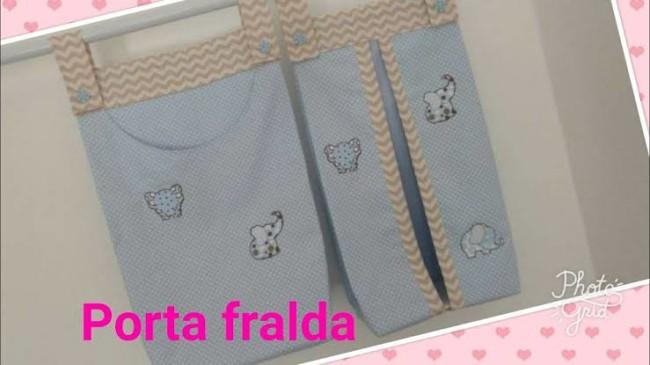 Porta fraldas de tecido azul com elefantinhos