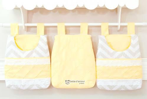 Porta fraldas de tecido com três cores
