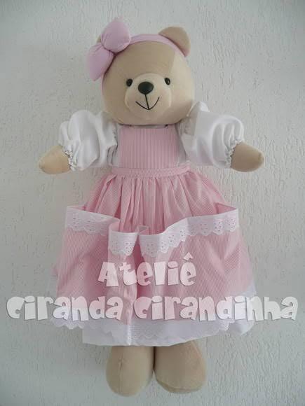 Porta-fraldas de ursinho rosa