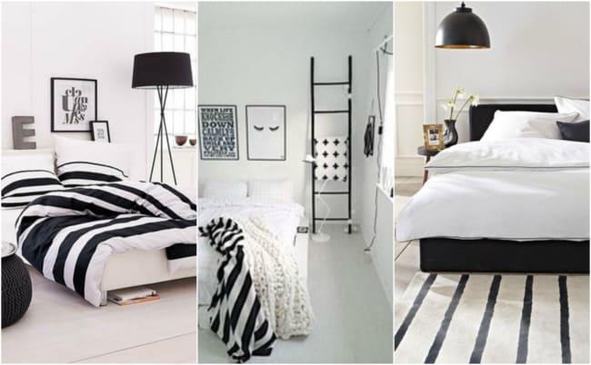 Quartos decorados com preto e branco