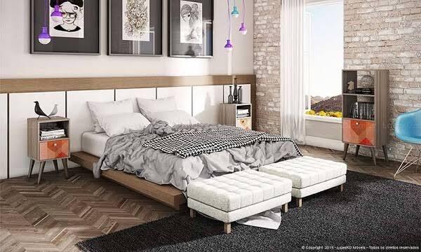 Recamier branco em quarto moderno de casal