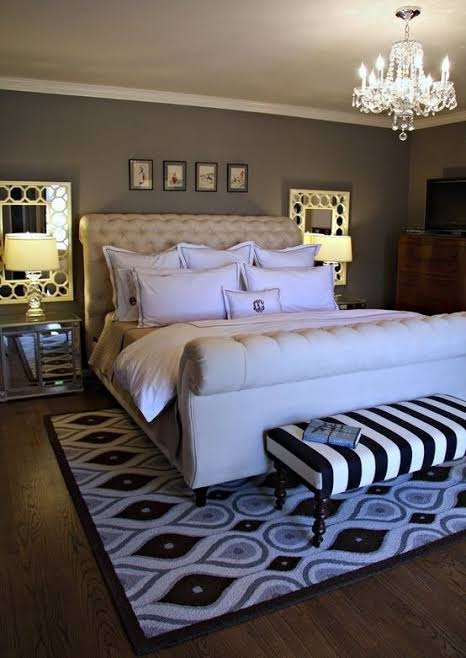 divã para quarto preto e branco