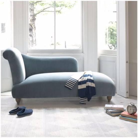 Recamier sofá azul bebê