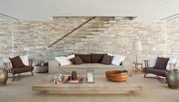 Revestimento de parede com pedra canjiquinha na sala11