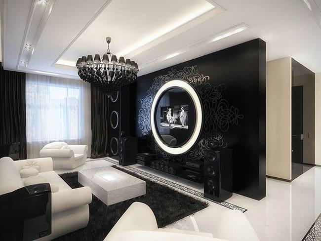 Sala com decoração clássica preto e branco
