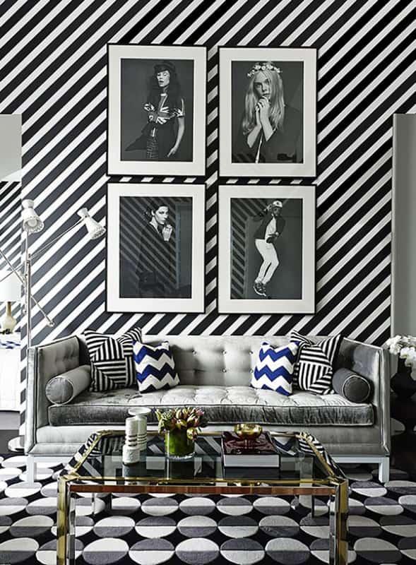 Sala de estar super diferente em preto e branco