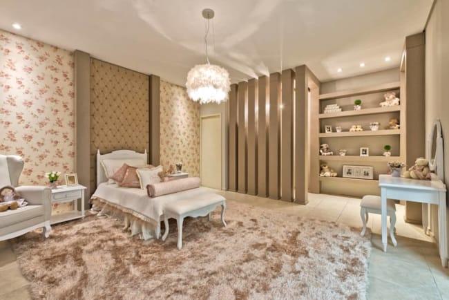 Sugestões de decoração dourada para quarto de menina