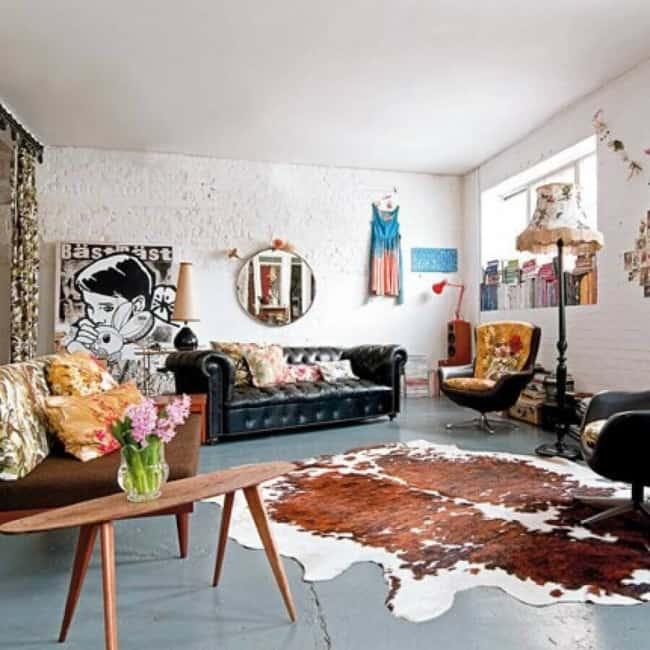 Tapete de couro em sala moderna
