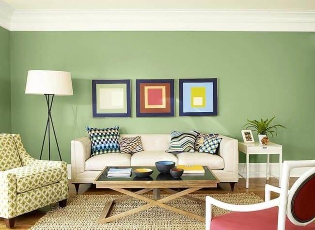 Verde acalma a decoração da sala