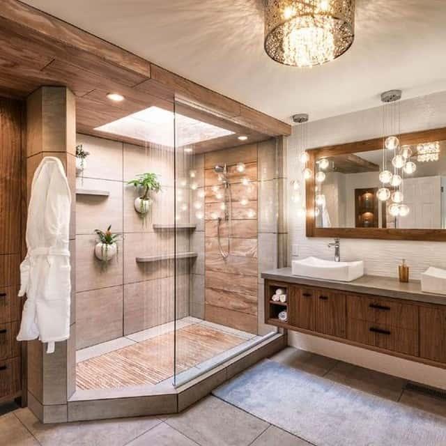 chuveiro de teto grande em spa