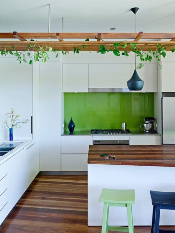 cozinha verde greenery