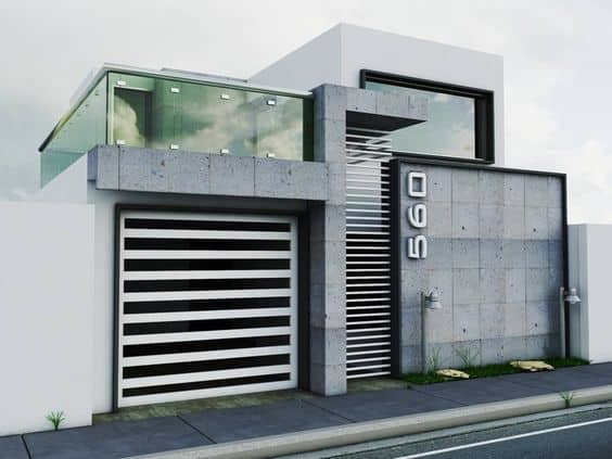 fachada de casa com cerâmica