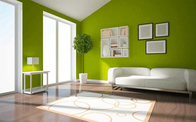 sala de estar decorada com Greenery