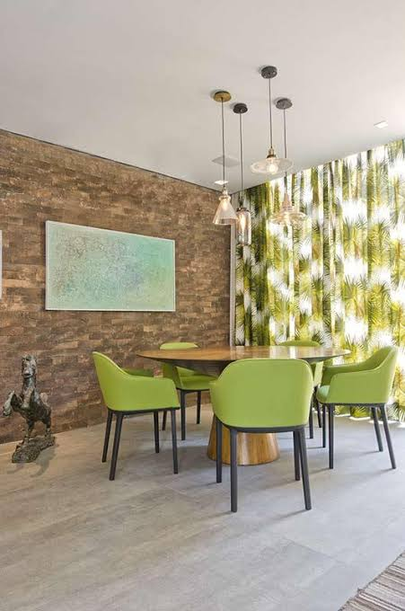 sala de jantar com Greenery