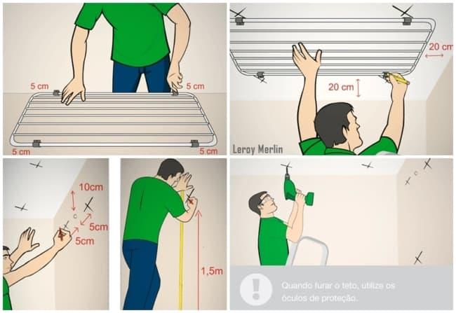 como instalar varal de teto passo a passo