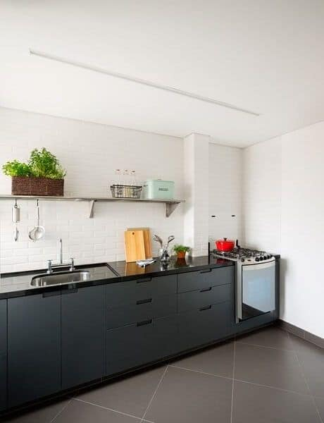 piso de porcelanato cinza para cozinha