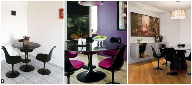 sala de jantar com cadeira preta Saarinen