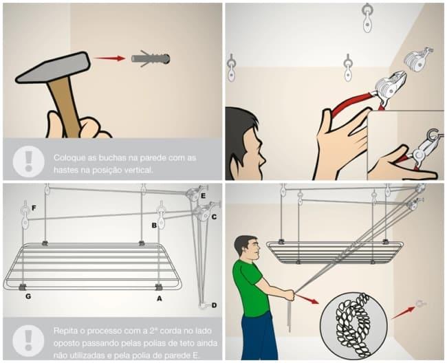 passo a passo para instalar varal de teto