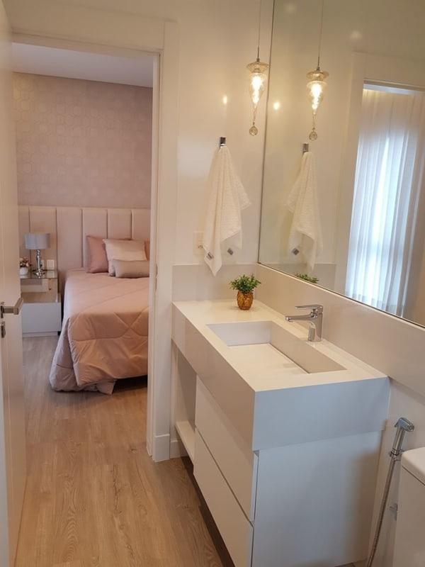 bancada de banheiro com cuba embutida de silestone branco