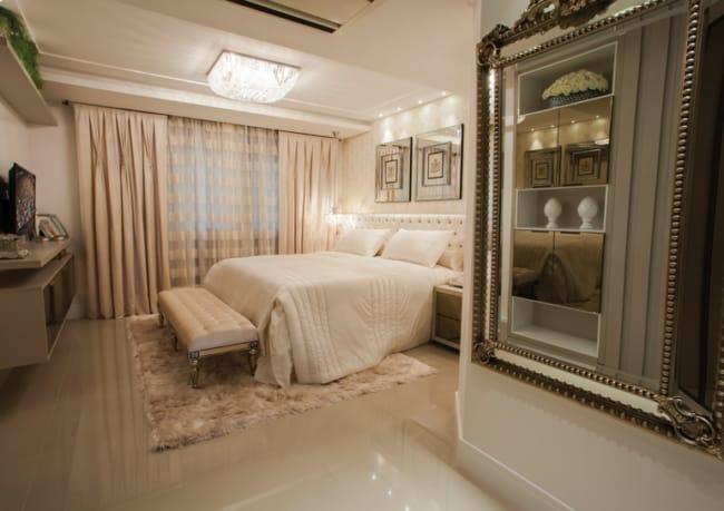 quarto de casal com piso de porcelanato polido