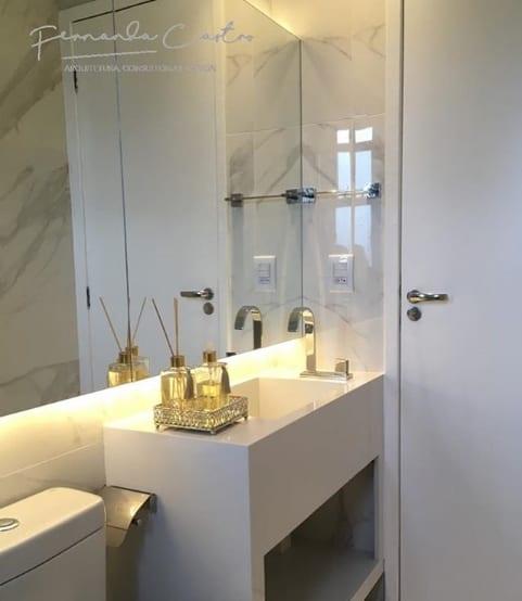 lavabo com bancada em pedra branca silestone Zeus