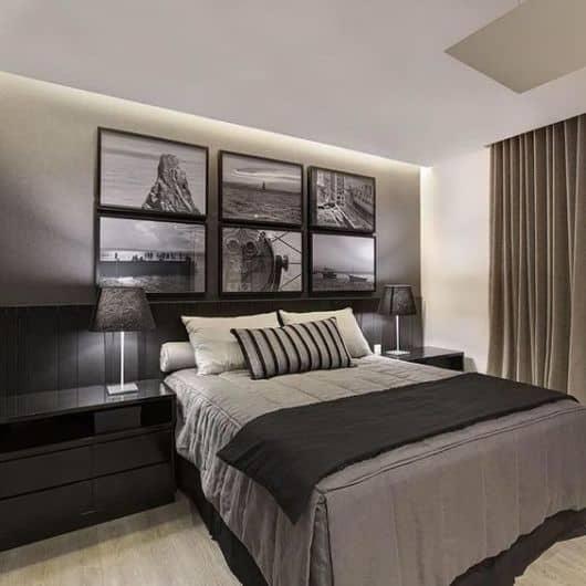 quarto decorado em preto e cinza