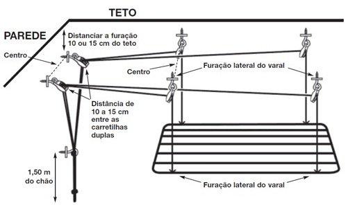 tutorial para instalar varal de teto