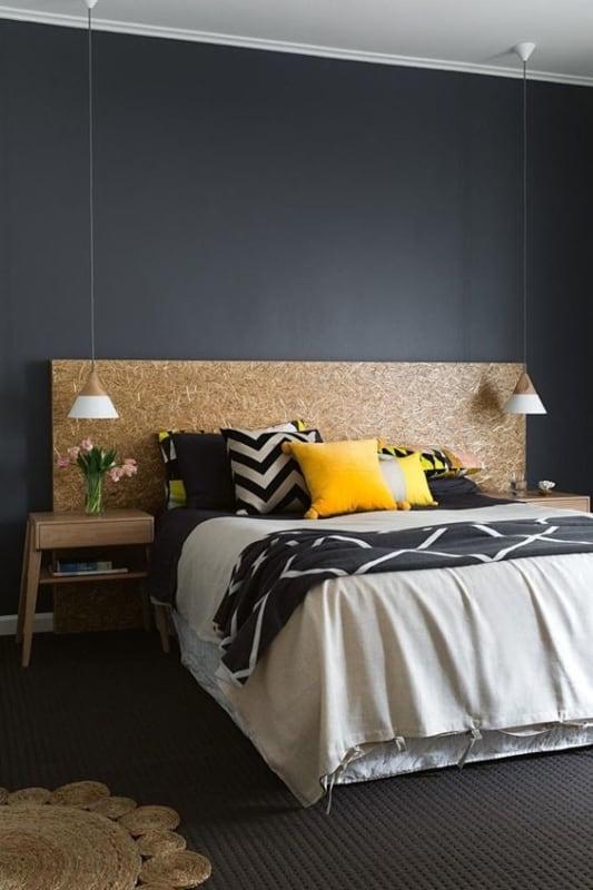quarto moderno com parede preta