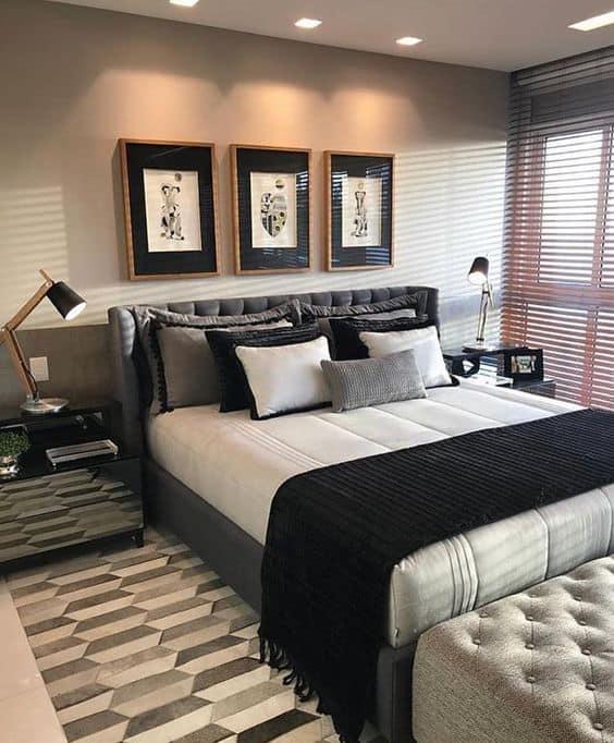 quarto com decoração em preto
