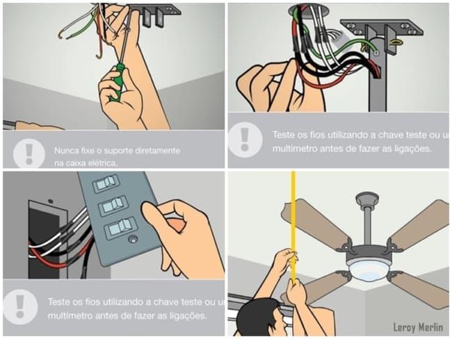 como instalar ventilador de teto passo a passo