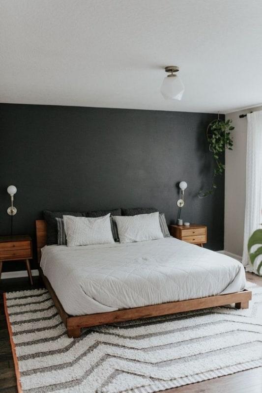 quarto decorado com parede preta