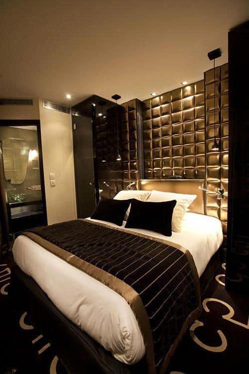 quarto de luxo preto e dourado