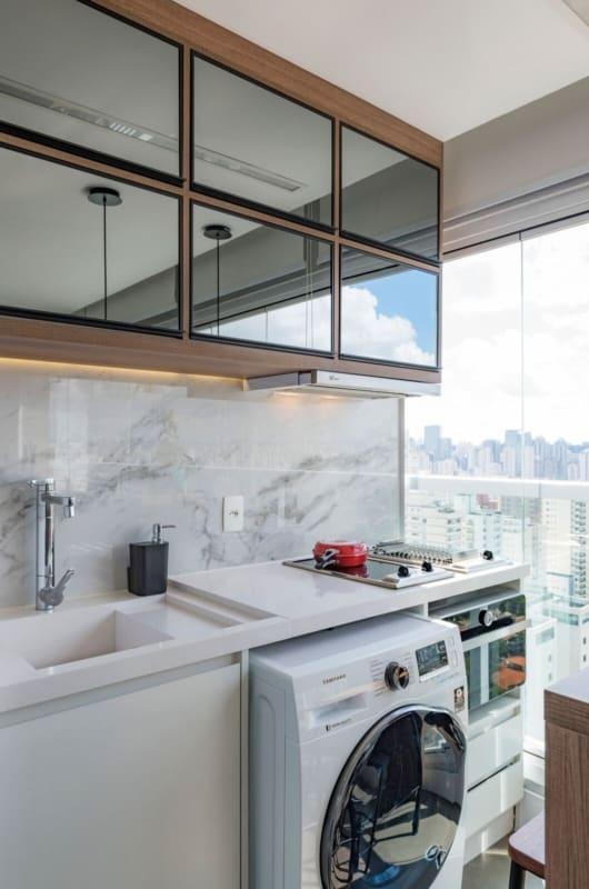 varanda com bancada de quartzo stone branco
