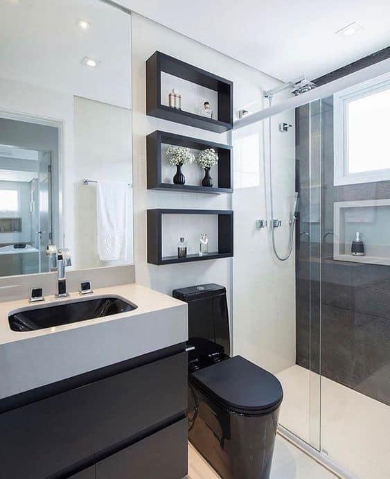 banheiro decorado em preto e branco