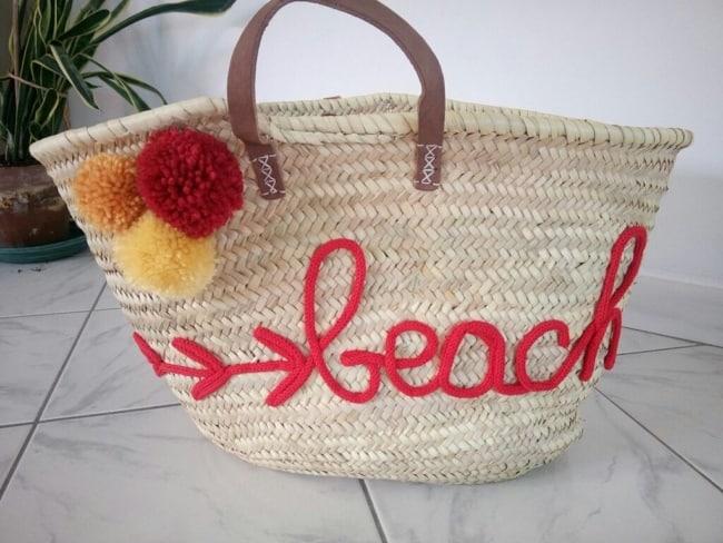 bolsa de praia decorada em i cord