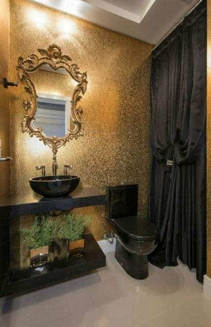 lavabo decora em preto e dourado