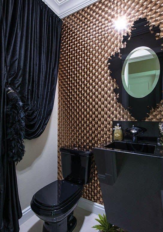 lavabo chique decorado em preto