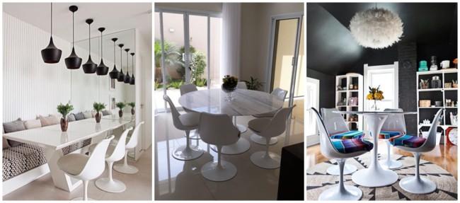 decoração com cadeira Saarinen branca