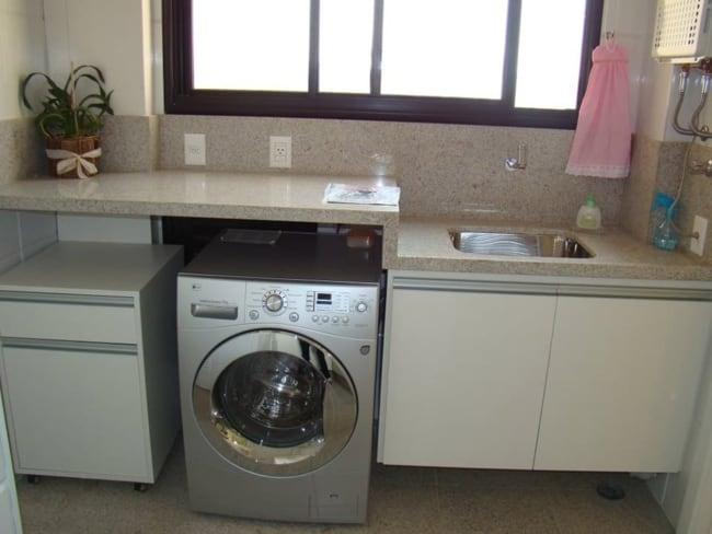 Bancada de granito Siena na lavanderia