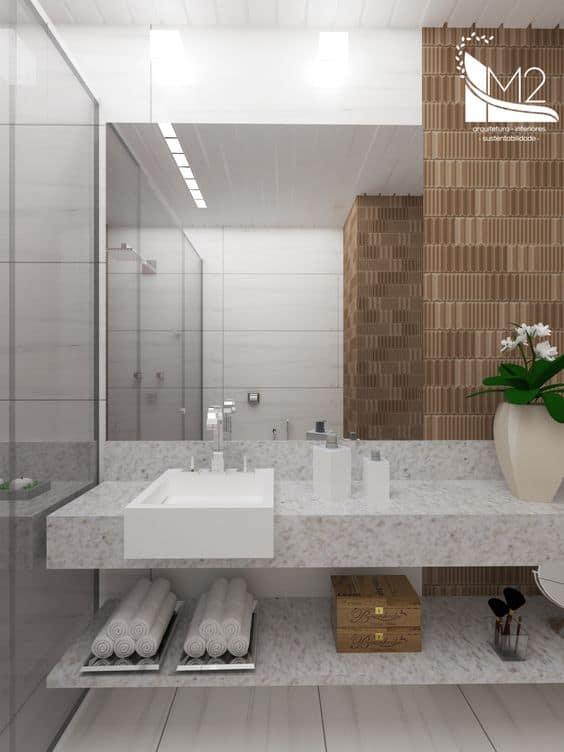 Banheiro com granito branco siena 1