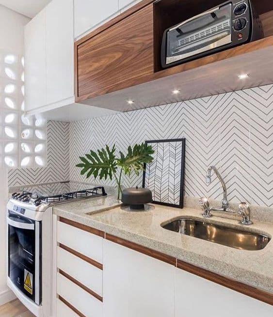 Belo granito branco siena na cozinha
