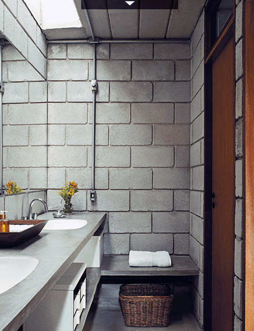 Blocos de concreto decoração do banheiro