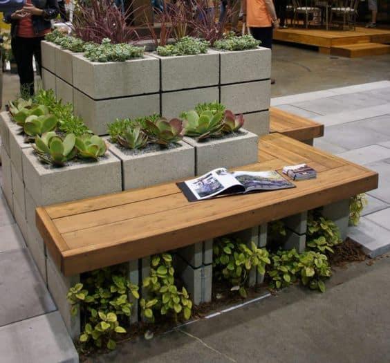 Blocos de concreto para fazer um jardim