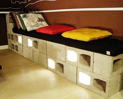 Blocos de concreto para fazer uma cama