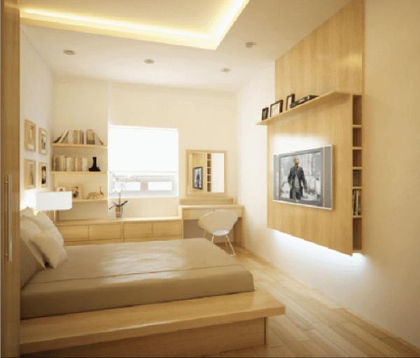 Cor palha no quarto de casal