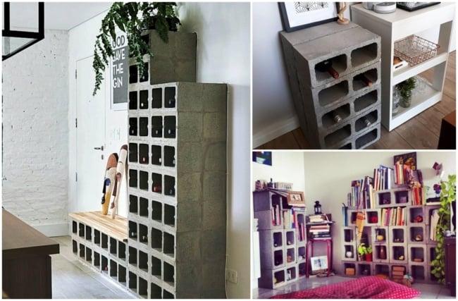 Decoração criativa com blocos de concreto