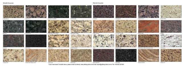 Diversas cores de granitos