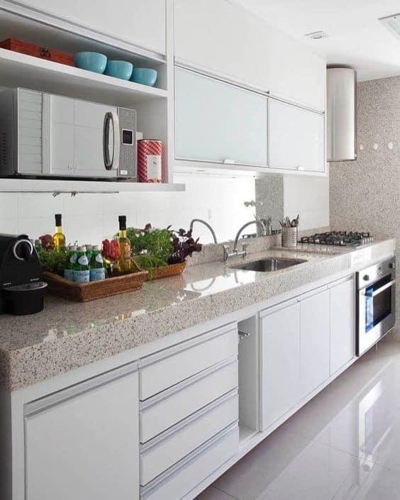 Granito branco na cozinha