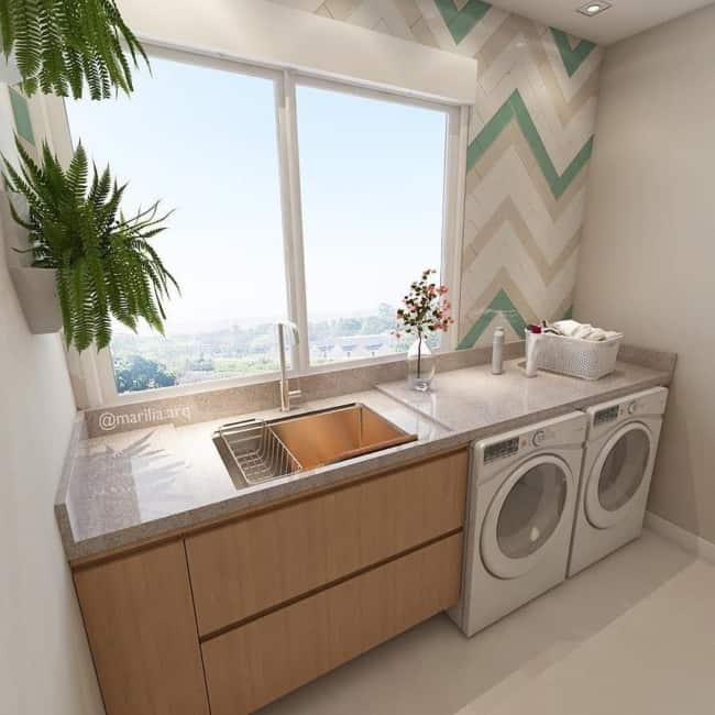 Lavanderia de apartamento com granito Siena